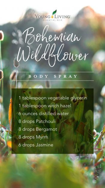 1 tablespoon vegetable glycerin, 1 tablespoon witch hazel, 6 ounces distilled water, 8 drops Patchouli, 8 drops Bergamot, 8 drops Myrrh, 6 drops Jasmine