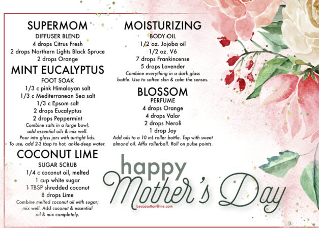 Treat Mom to a few of these diffuser recipes!