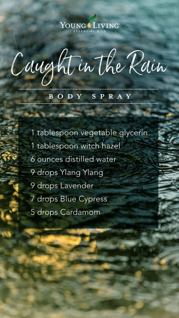 1 tablespoon vegetable glycerin, 1 tablespoon witch hazel, 6 ounces distilled water, 9 drops Ylang Ylang, 9 drops Lavender, 7 drops Blue Cypress, 5 drops Cardamom