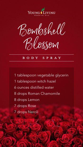 1 tablespoon vegetable glycerin, 1 tablespoon witch hazel, 6 ounces distilled water, 8 drops Roman Chamomile, 8 drops Lemon, 7 drops Rose, 7 drops Neroli