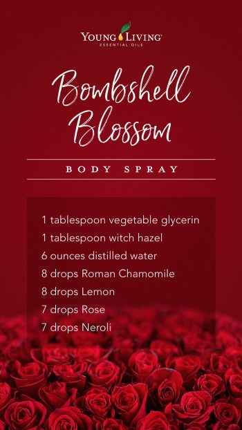 1 tablespoon vegetable glycerin, 1 tablespoon witch hazel, 6 ounces distilled water, 8 drops Roman Chamomile, 8 drops Lemon, 7 drops Rose, 7 drops Neroli